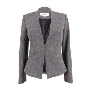 🎬✨ Calvin Klien Tweed Blazer Jacket w Zip Pockets